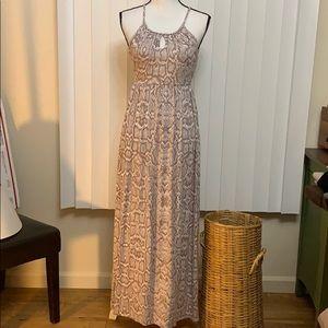 Cynthia Rowley Empire Waist Snake Print Maxi Dress